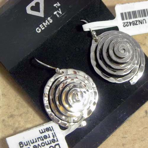silver earrings concentric circles