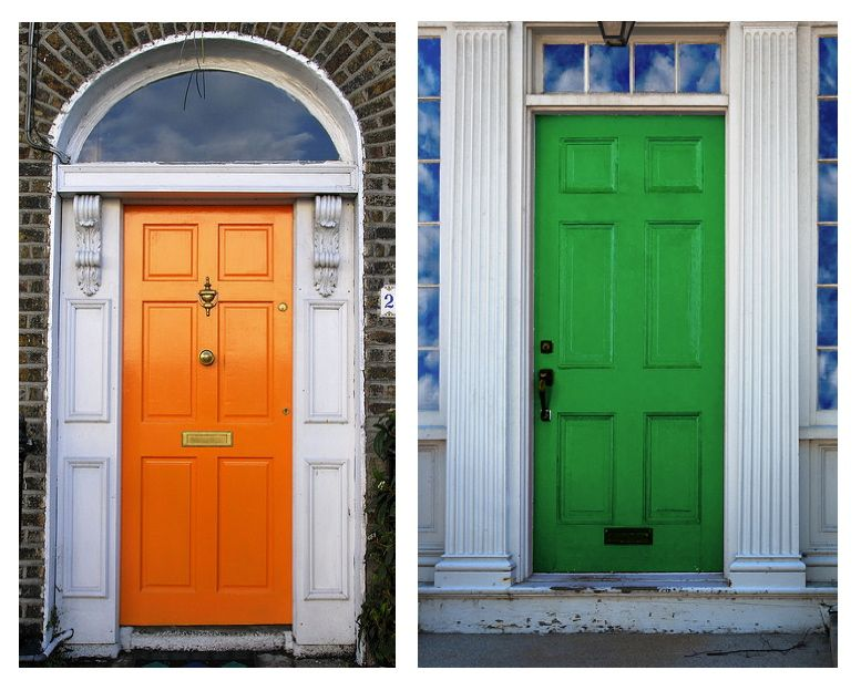 Colorful Front Doors Custom Of Green House with Orange Front Doors Photo
