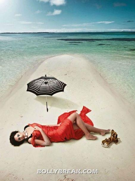 Nargis Fakhri Sexy Wallpaper Red Dress Sandy Beach - (4) - Nargis Fakhri Bikini Pics from Harper Bazaar Magazine Hot Scans