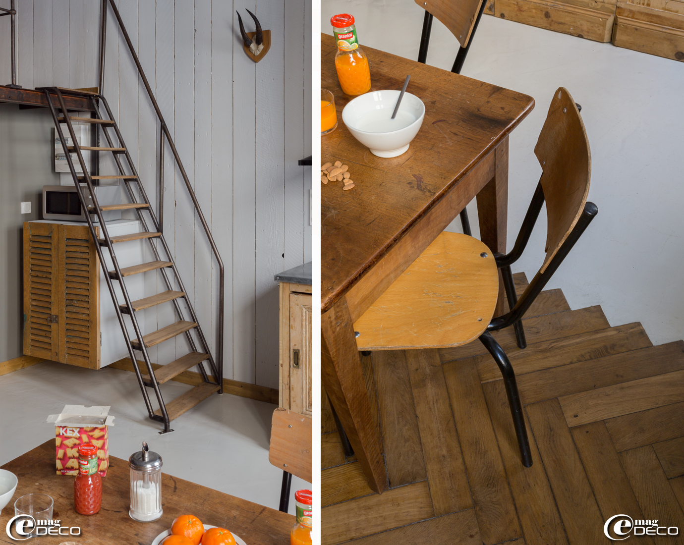 Escalier de mezzanine réalisé à partir d'un escabeau de maçon par Pierre Bresson, spécialiste en décoration industrielle, démarcation de sol entre un parquet et un béton lisse
