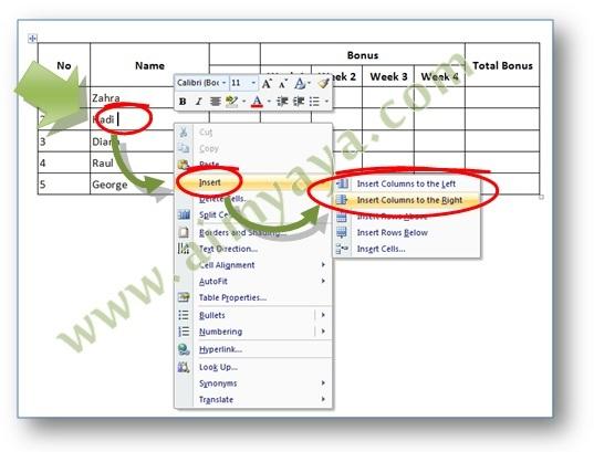 Gambar: Contoh cara mengakses menu penyisipan kolom di Tabel Microsoft Word 2007