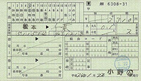 JR東日本 料金専用補充券6 小野駅 自由席特急券