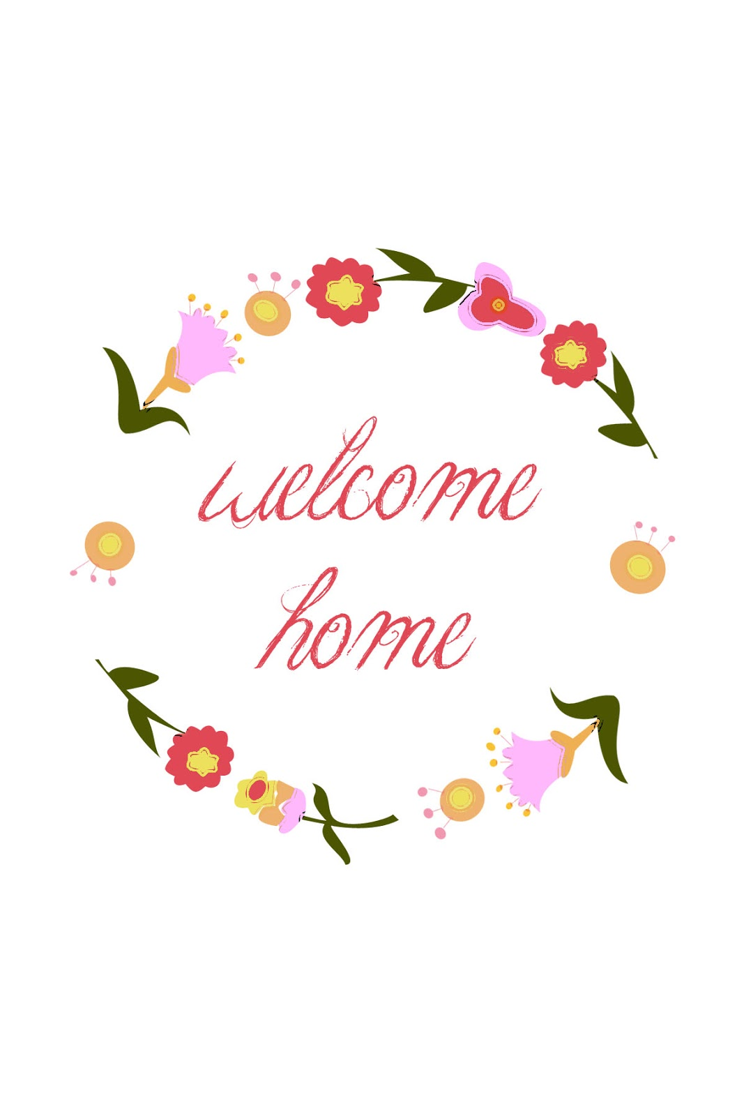 Current image with welcome home sign printable