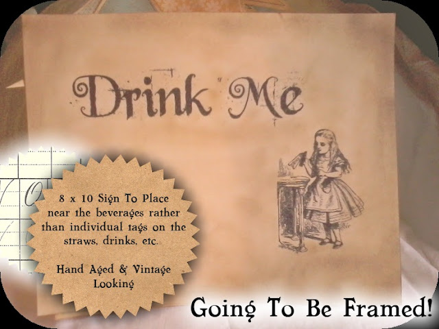 Sweetly scrapped alice in wonderland themed party goodies heres the template for the 8 x 10 sign i left room in case you would like to add your own text etc pronofoot35fo Images