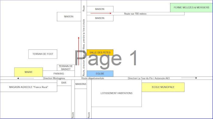 Plan d'accès depuis le centre du village de Sainte Blandine