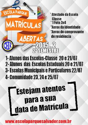 Calendário de Matrícula 2015.2 - Escola Parque