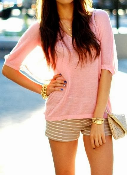 Cute Pink Shirt With Shorts