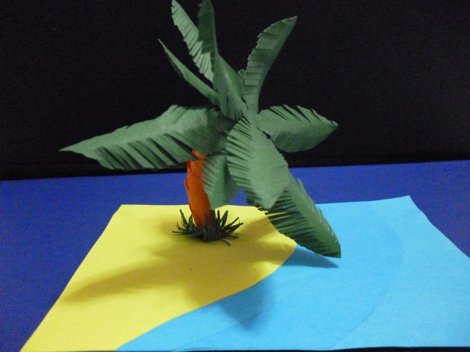 Maquetas creativas palmera de papel - Como hacer una palmera artificial ...