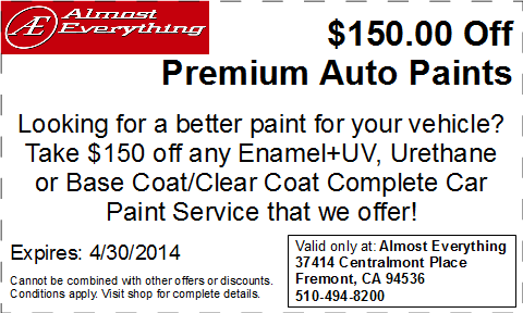 Discount Coupon Almost Everything $150 Off Premium Auto Paint Sale April 2014
