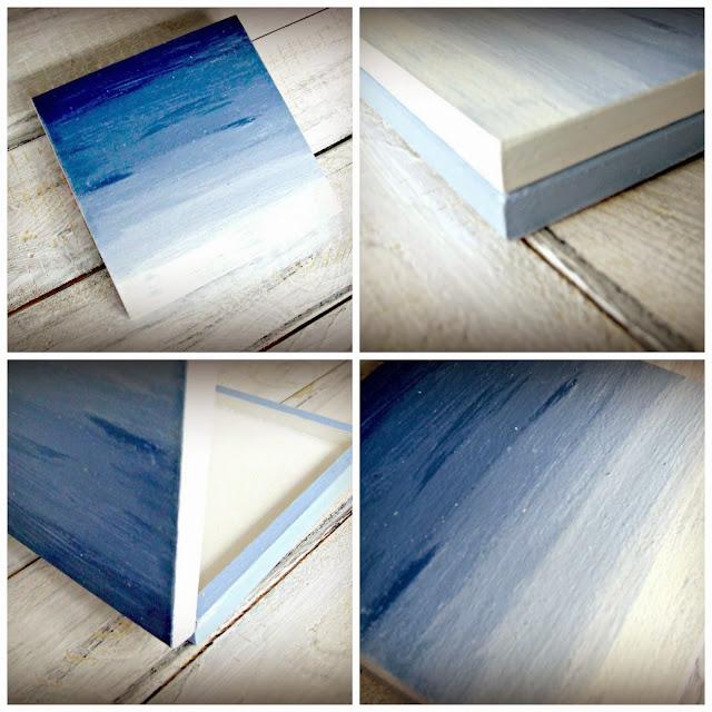 Niebieskie pudełko hand made ombre - Eco Manufaktura pracownia decoupage i hand made