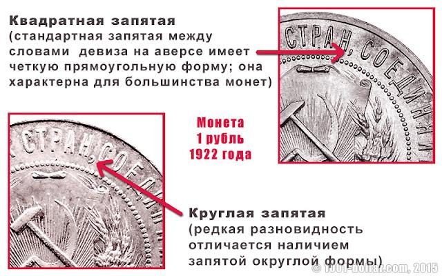 Монета 1 рубль 1922 года: квадратная и круглая запятая