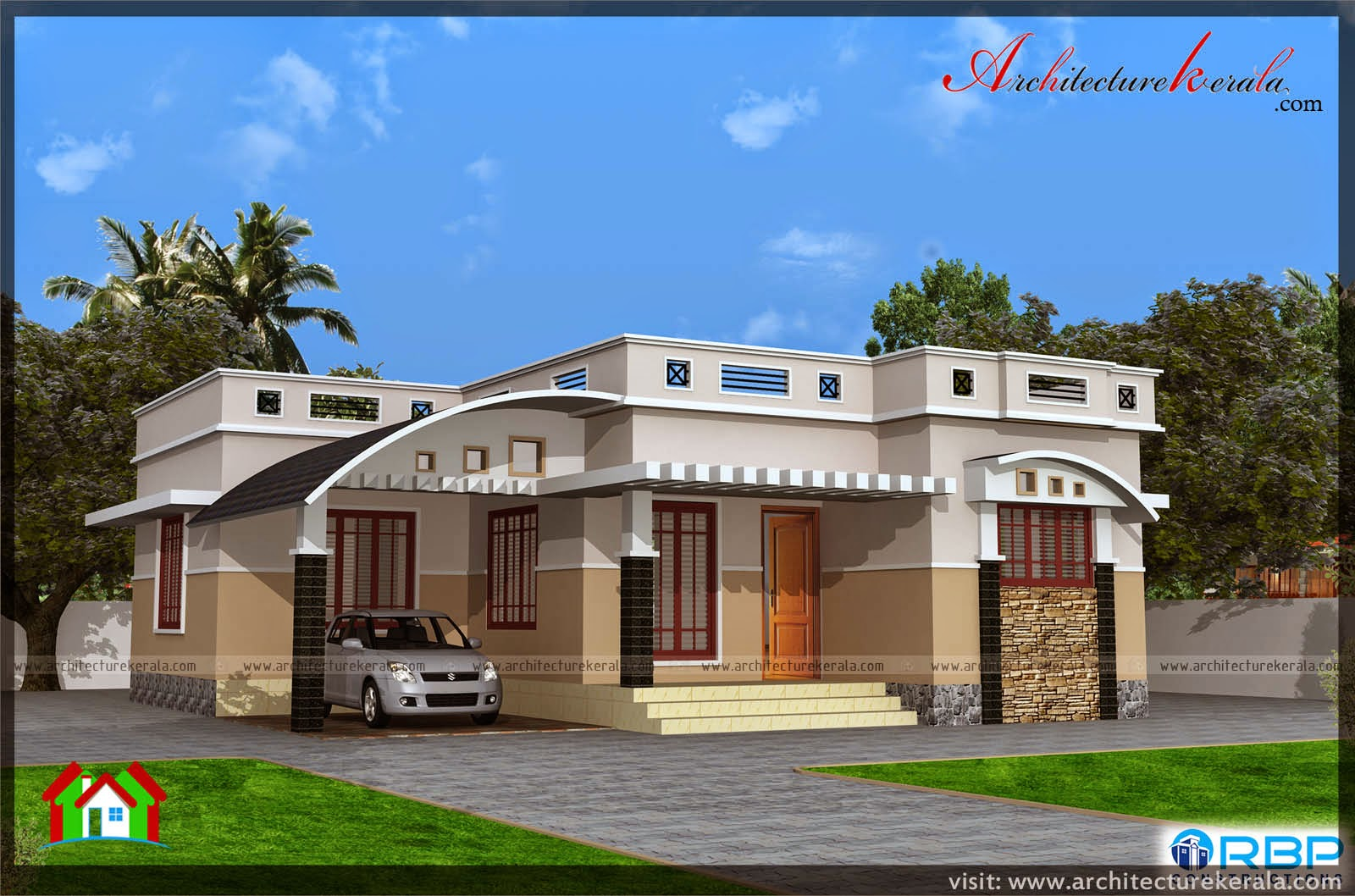1000 sqft single storied house plan and elevation for Kerala model house plans 1000 sq ft