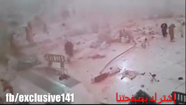 حصريا :أوضح فيديوا للمجزرة التي خلفها سقوط الرافعة في الحرم المكي ,,, تصوير كاميرا مراقبة الحرم