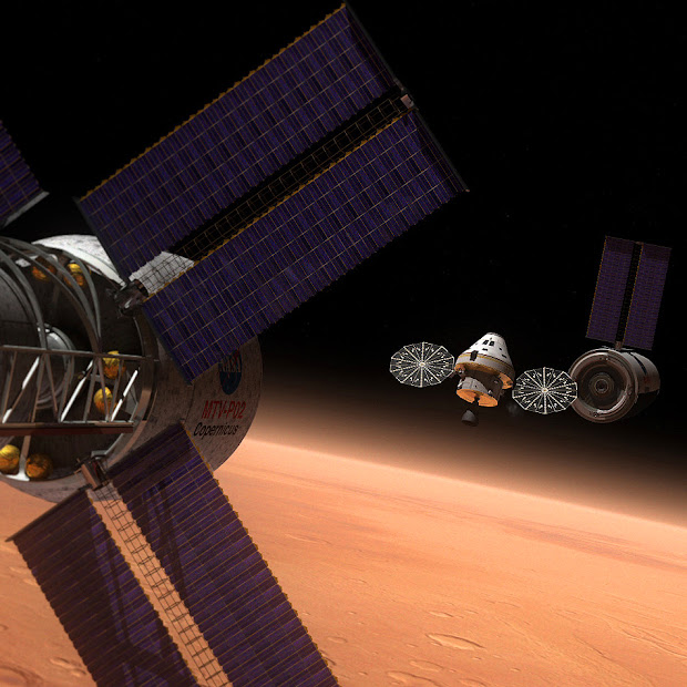 Artist's rendering of the MPCV on a Manned Mission to Mars