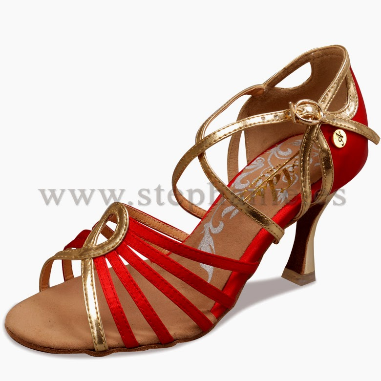 zapatos de baile de salon latino Guils - ADS rojos y oro