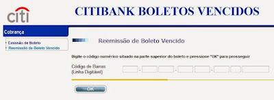 CITIBANK BOLETOS VENCIDOS ATUALIZAR 2 VIA BOLETOS ATRASADOS CITIBANK