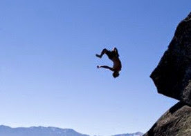 Lucky idiot jumps