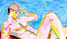 Sentado à Beira da Piscina