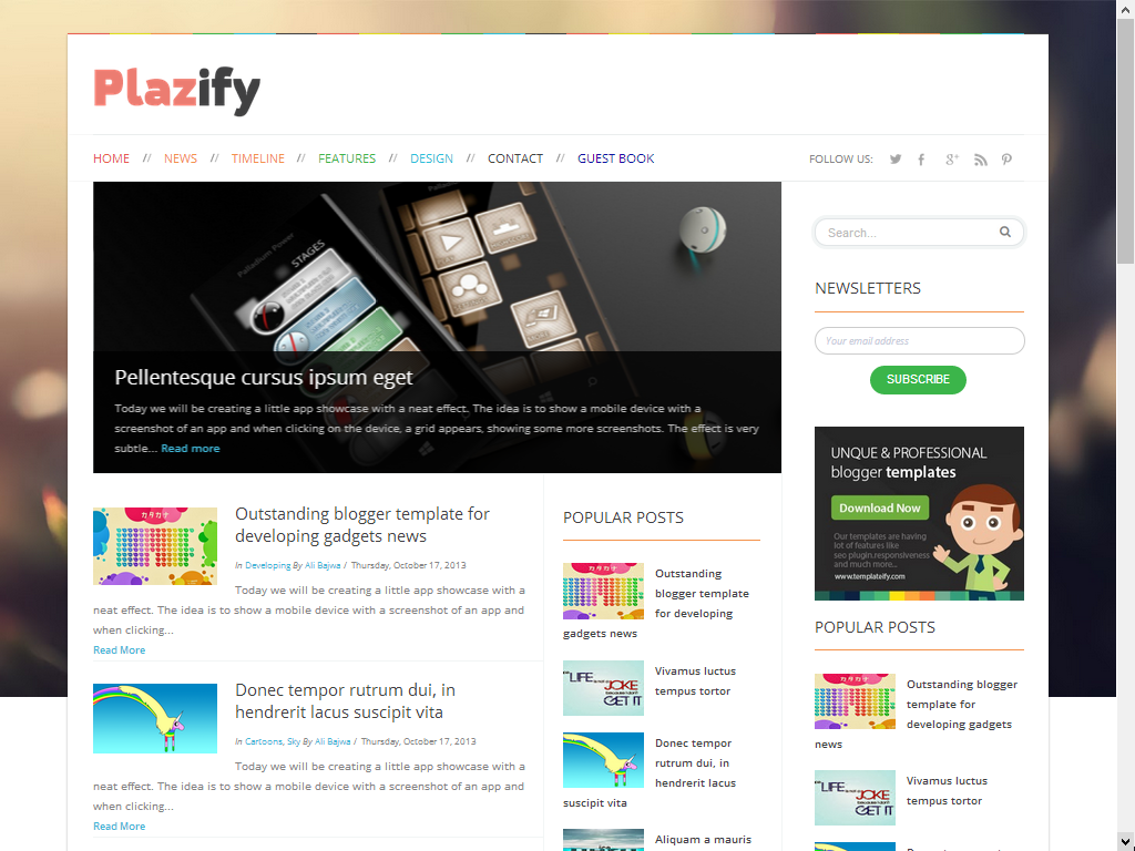 Plazify Free Responsive Premium Blogger Template