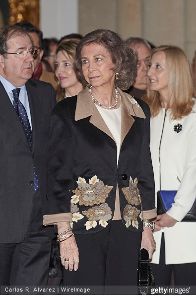 Queen Sofia of Spain visits the Basilica of Santa Teresa in Salamanca