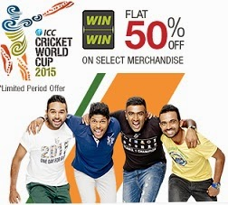 Flat 50% Off on ICC Cricket World Cup 2015 Merchandise (Limited Period Offer)