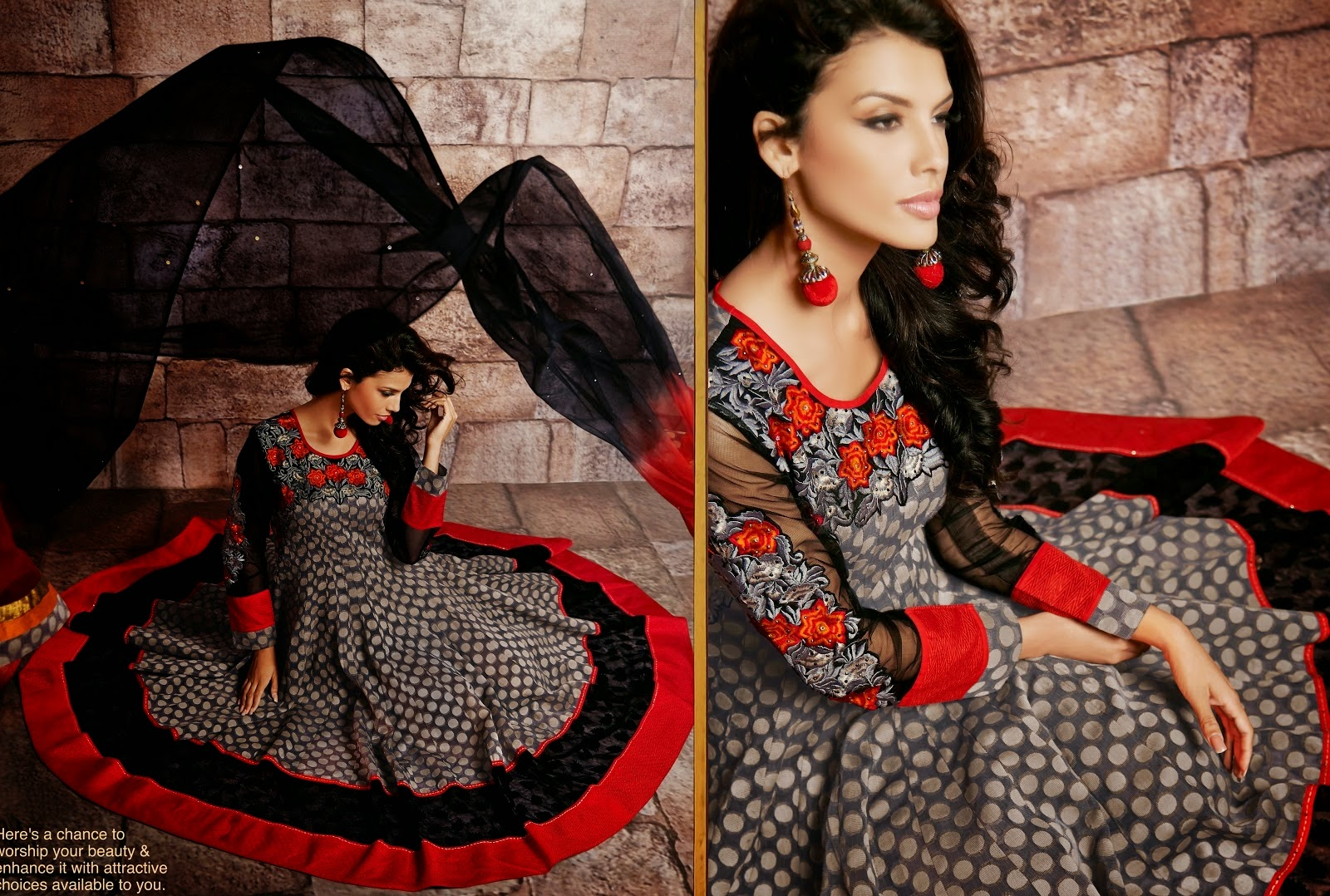 Sparkling Black, Gray & Red Readymade Anarkali Suit,anakali salwar kameez, anarkali shalwar kameez, anarkali 2014 suits, anarkali fashion dresses, anarkali 2014.