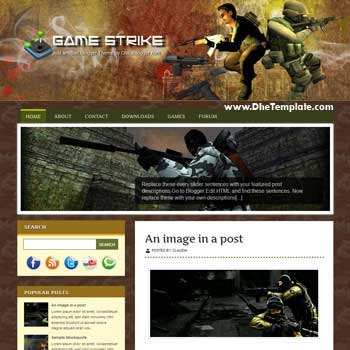 Game Strike blogger template. blogger template for games blog