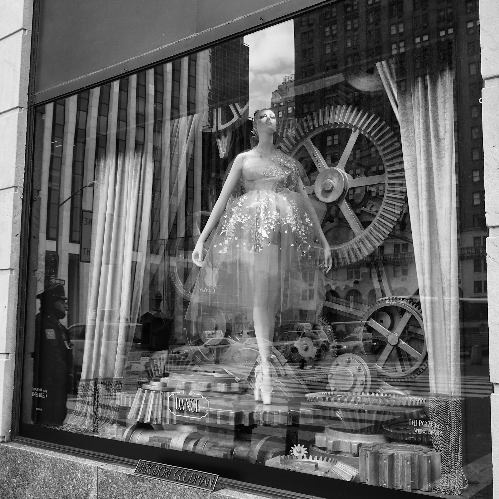 Spotlight - Black and White #Spotlightblackandwhite  #bgwindows #5thavenuewindows #holidaysinNYC #besttimeoftheyear ©2014 Nancy Lundebjerg