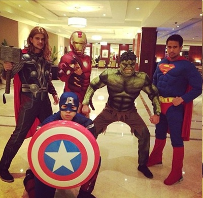 Rayver, Gerald, Jason, Sam and Ken as Thor, Iron Man, The Hulk, Suerman and Captain America, respectively