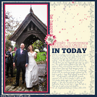 Beautiful Wedding Day Digital Scrapbook Page by UK Stampin' Up! Demo Bekka Prideaux - get a free trial of the software she used here