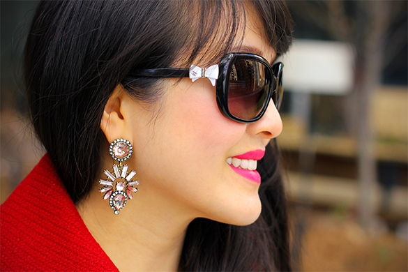Chanel bow sunglasses with BaubleBar Aztec sunset drop earrings