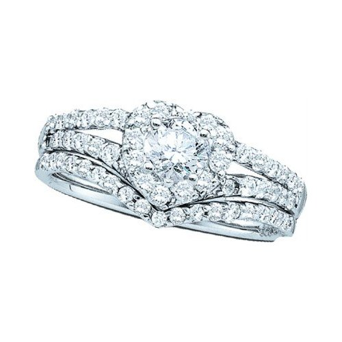 Ladies Round Cut Heart Shaped Diamond Wedding Engagement Bridal Ring Set  Design