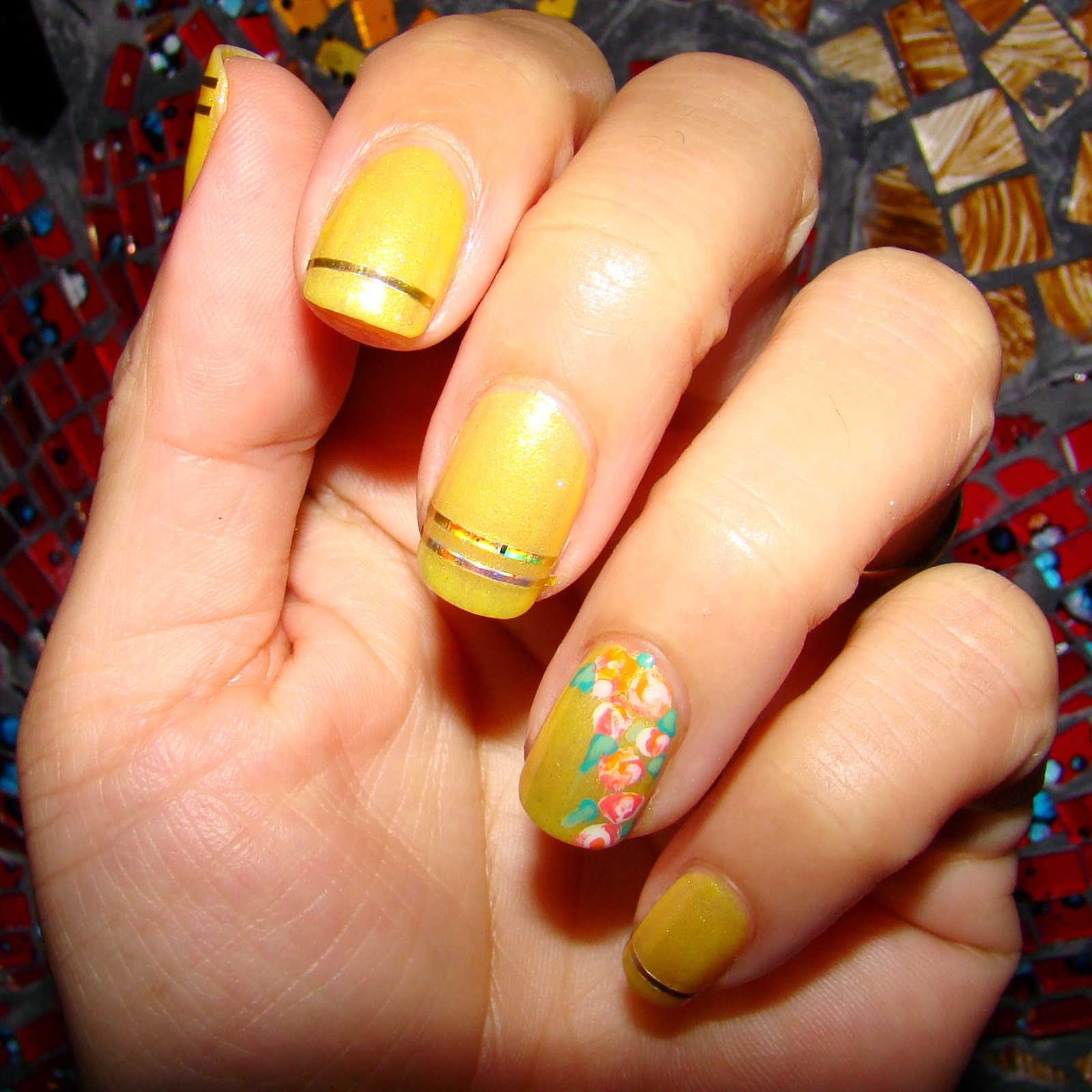 Yellow with Roses and Striping Tape