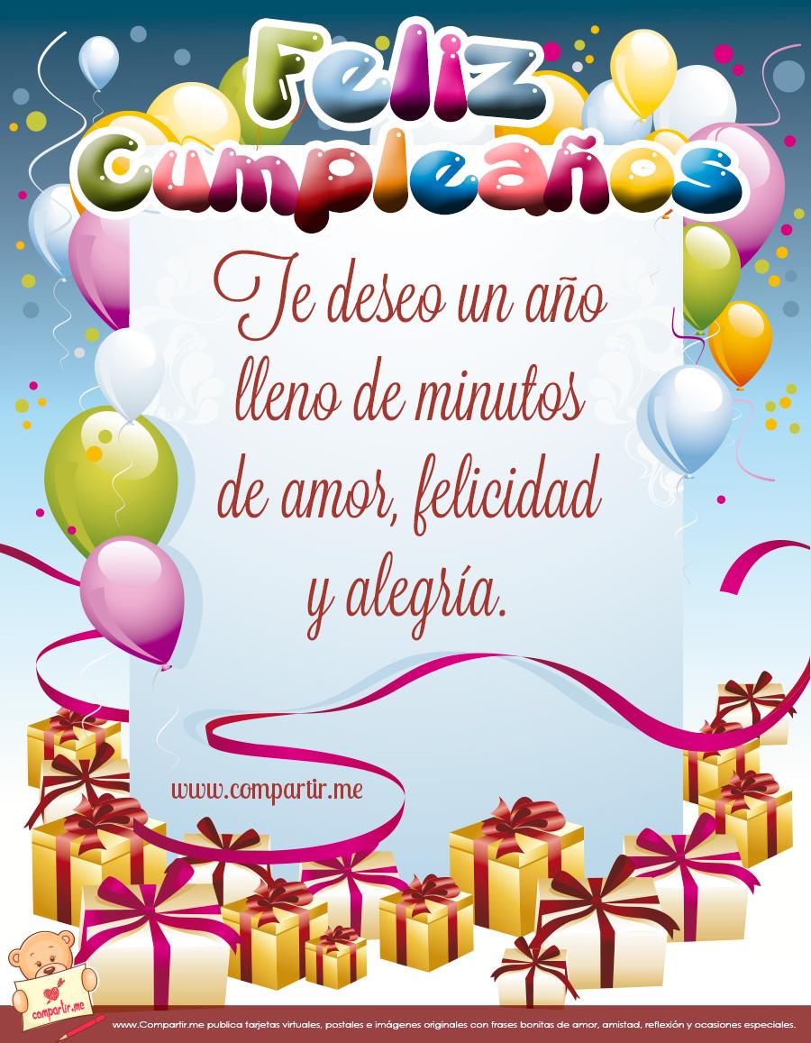 ! Te deseo un año lleno de minutos de amor, felicidad y alegría