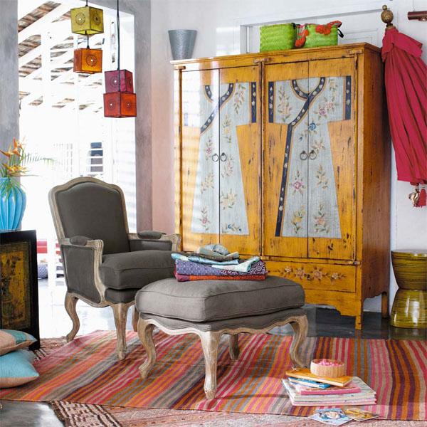 decorar con muebles antiguos-armario -japones pintado-Japanese cabinet antique