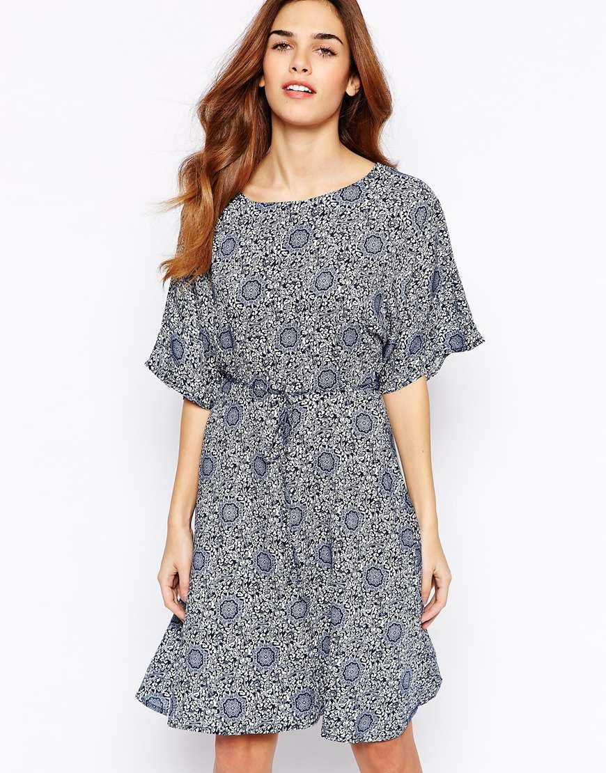 blue dress with kimono sleeve,