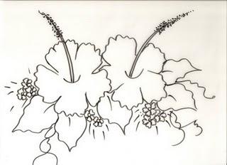desenho de hibiscos para pintura tecido