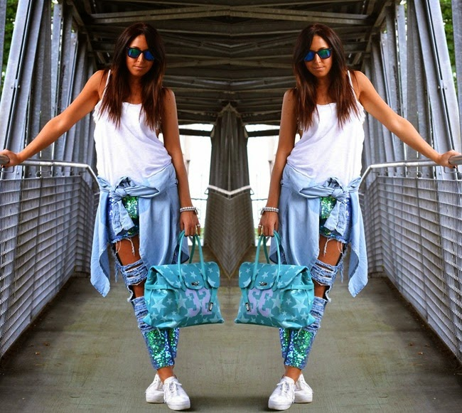 Persunmall High Street Distressed Jeans with Sequins