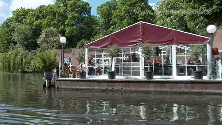 Alster Canal Tour passing the Cafe Sommer-Terassen Hamburg