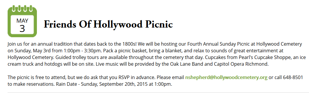 http://www.hollywoodcemetery.org/events