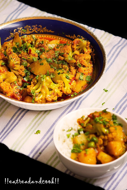 pure vegetarian cauliflower curry with potatoes and green peas recipe