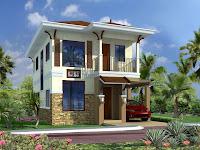 Diseño de fachada de casa de 2 niveles con espacio para un auto, coche o carro