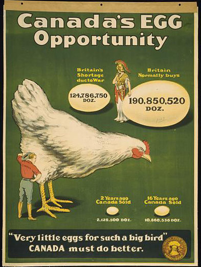 advertising, free download, graphic design, retro prints, vintage, vintage posters, wildlife, food, Canada's Egg Opportunity, Very Little Eggs for Such a Big Bird, Canada Must Do Better - Vintage Food Advertising Poster
