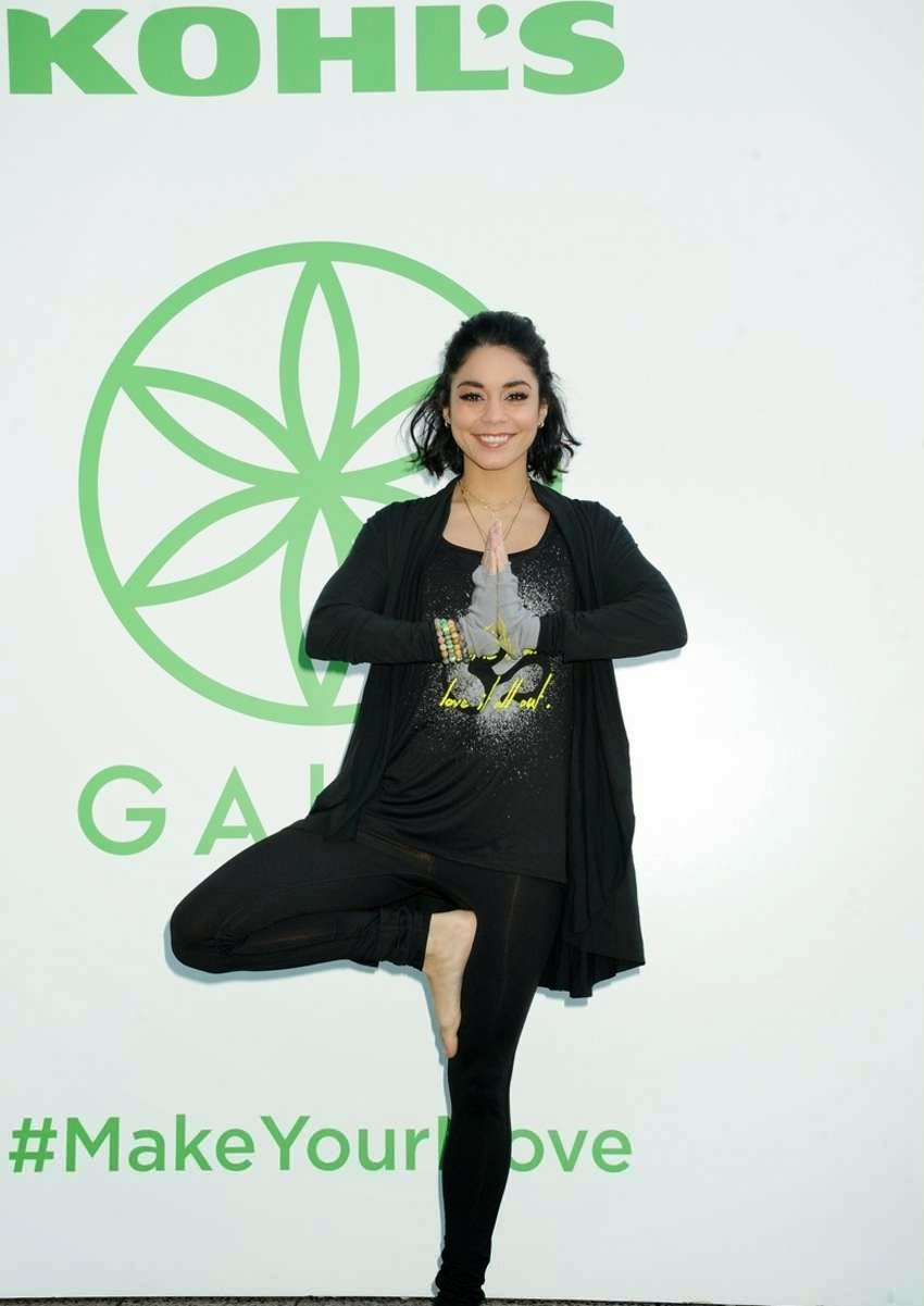 Vanessa Hudgens shows off yoga skills at the Kohl's Exclusive Gaiam Apparel Launch in NYC