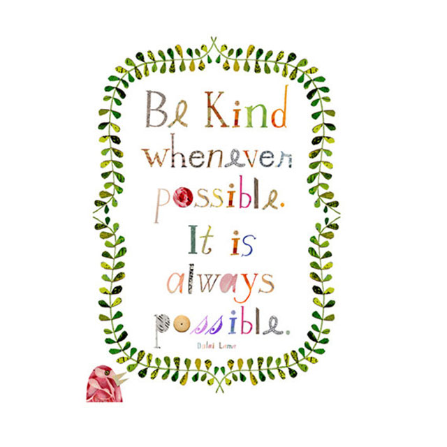 Be Kind illustrated word art by Susan Farrington