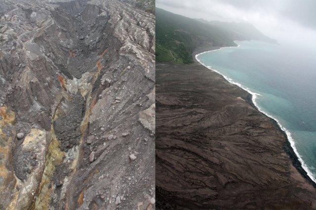Volcan Souffriere Hills en Montserrat y costa de la isla de Montserrat