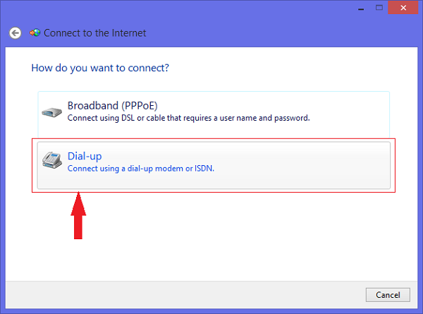 Dial-up options windows 8.1
