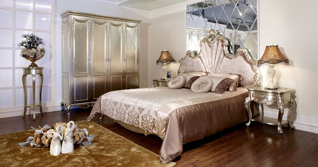 exotic french country bedroom furniture with single romantic bed and some round pillows and gold wardrobe