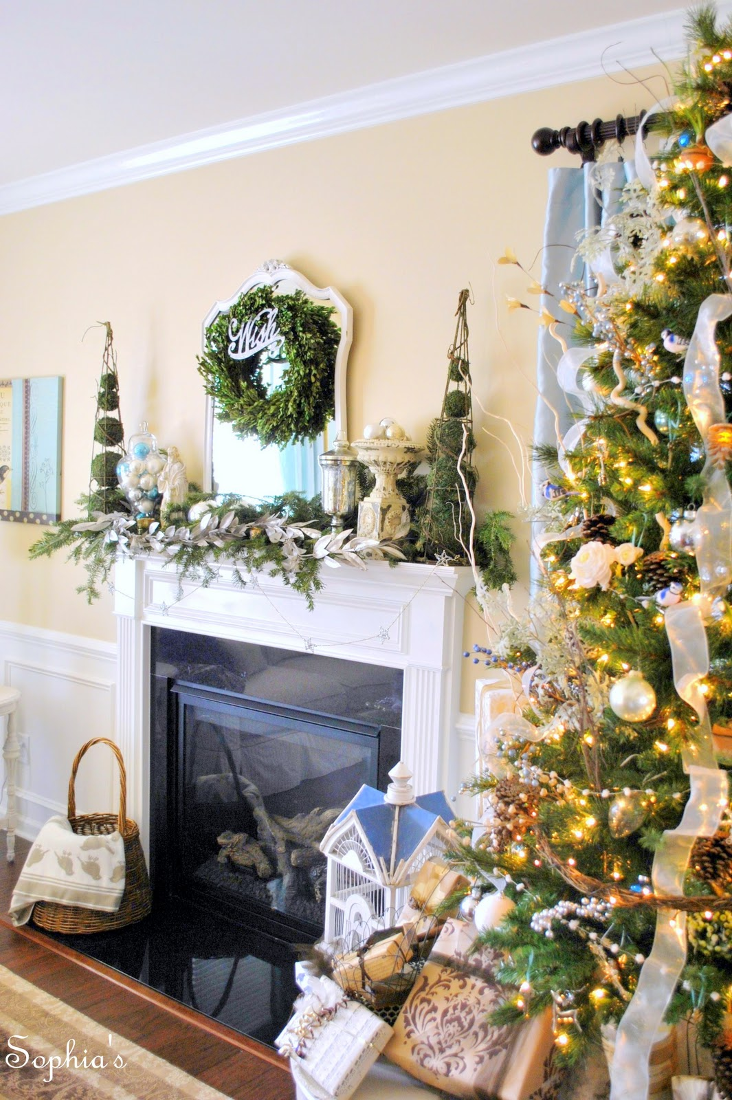 Silvery Christmas Mantel