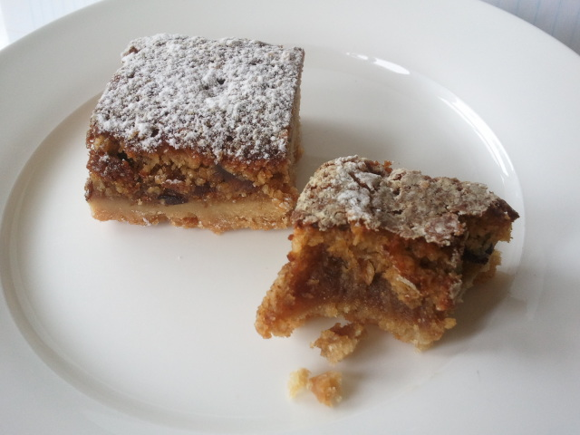 Christmas fruit mince slice of cake